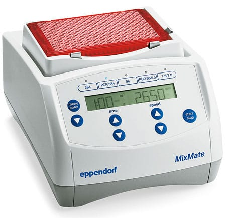 Eppendorfs bench top MixMate Vortex mixing aid